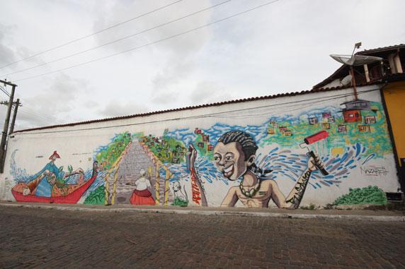 Painel grafitado pelos artistas do Recongraffiti...