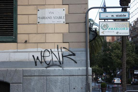 A tag foi uma das intervenções registradas em Palermo